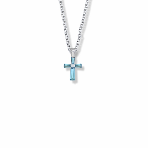 5/8 Inch Sterling Silver and Glass Crystal December Birthstone Baguette Cross Necklace