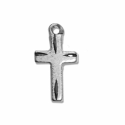 1/2 Inch Sterling Silver Diamond Engraved Cross Necklace on 13 Inch Chain