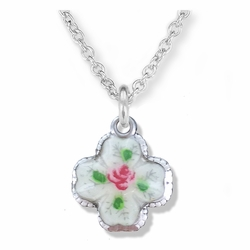 1/2 Inch Sterling Silver Enameled Flower and Four Way Shadow Medal