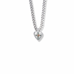 1/2 Inch Sterling Silver Enameled Rose Cross on Heart Locket Necklace