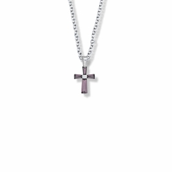 5/8 Inch Sterling Silver and Glass Crystal February Birthstone Baguette Cross Necklace