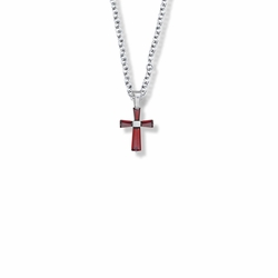 5/8 Inch Sterling Silver and Glass Crystal July Birthstone Baguette Cross Necklace