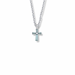 5/8 Inch Sterling Silver and Glass Crystal March Birthstone Baguette Cross Necklace