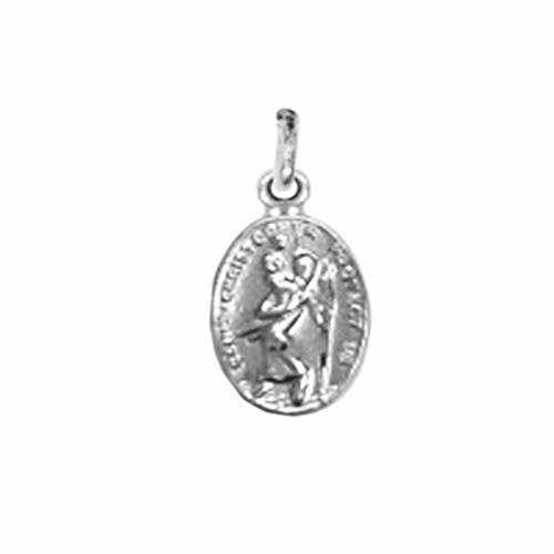 1/2 Inch Sterling Silver St. Christopher Oval Medal, Patron of Travelers
