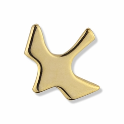 1/2 x 1/2 Inch Gold Descending Dove Lapel Pin