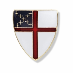1/2 x 1/2 Inch Gold Enameled Episcopal Cross Shield Lapel Pin