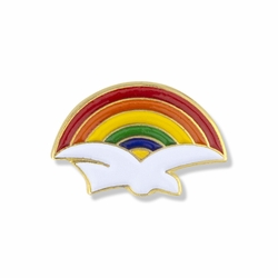 1/2 x 5/8 Inch Gold Enameled Dove with Rainbow Lapel Pin