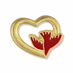 1/2 x 5/8 Inch Gold Open Heart with Enameled Descending Dove Lapel Pin