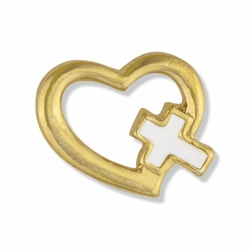 1/2 x 5/8 Open Gold Heart with Enameled Cross Lapel Pin