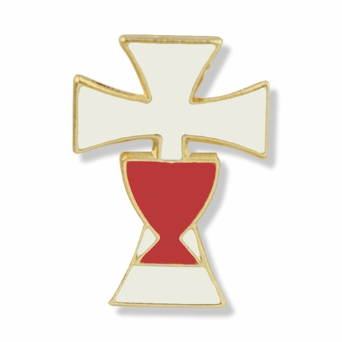 1/2 x  7/16 Inch  Gold and Enameled Cross and Chalice Lapel Pin