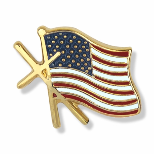 1/2 x 9/16 Inch Gold Enameled American Flag with Cross Lapel Pin