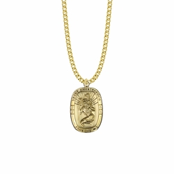 1-3/16 Inch 14KT Gold Plated Over Sterling Silver Rounded Rectangle St. Christopher Medal, Patron Saint of Travelers
