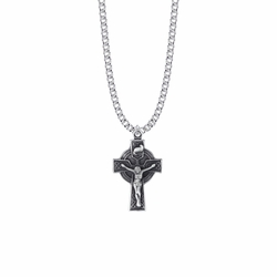 1-3/16 Inch Pewter Celtic Knot Crucifix Necklace