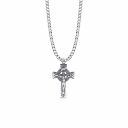 1-3/16 Inch Pewter Pierced Celtic Knot Crucifix Necklace