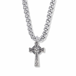 1-3/16 Inch Sterling Silver Celtic Knot Cross Necklace