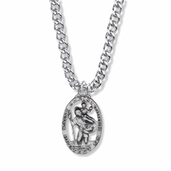 1-3/16 Inch Sterling Silver Pierced Oval St. Christopher Medal, Patron Saint of Travelers