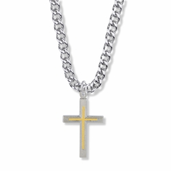 1-3/16 Inch Two-Toned Sterling Silver Lined Inner Cross Necklace