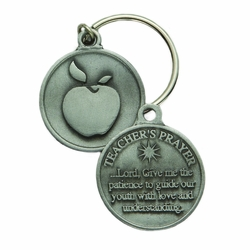 1-3/16 x 1-3/16 Inch Round Pewter Teachers Prayer Key Chain