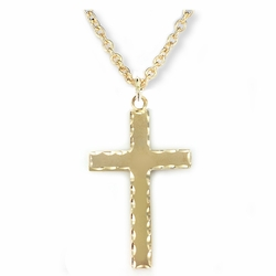 1-3/4 Inch 14K Gold Plated Over Sterling Silver Cross Necklace with Our Father Prayer on Back