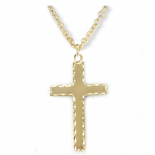 1-3/4 Inch 14KT Gold Plated Over Sterling Silver Cross Necklace with Our Father Prayer on Back