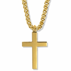 1-3/4 Inch 14K Gold Over Sterling Silver Plain Style with Our Father Prayer on Back Cross Necklace