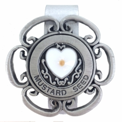 1-3/4  Inch Pewter Heart Mustard Seed Auto Visor Clip