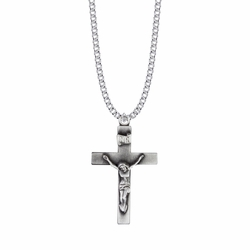 1-3/4 Inch Pewter Our Father Pewter Crucifix Necklace