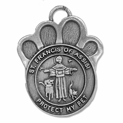 1-3/4 Inch Pewter Paw and St. Francis Pet Medal