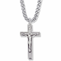 1-3/4 Inch Sterling Silver Crucifix Necklace