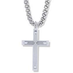 1-3/4 Inch Sterling Silver Multi Lined Cross Necklace