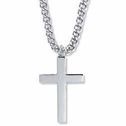 1-3/4 Inch Sterling Silver Plain Style with Our Father Prayer on Back Cross Necklace