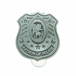 1-3/4 x 1-1/2 Inch Pewter St. Michael, Patron of Police Shield Visor Clip
