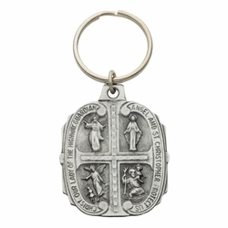 1-3/4 x 1-3/8 Inch Pewter Oval Four Way Key Chain