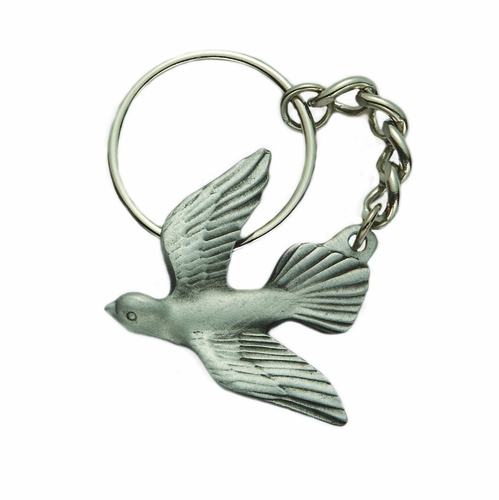 1-3/4 x 1-7/8 Inch Pewter Descending Dove Key Chain