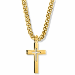 1-3/8 Inch 14K Gold Filled Pierced Inner Cross Necklace