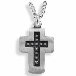 1-3/8 Inch Pewter and Black Beaded Cross Necklace