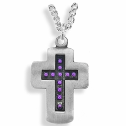 1-3/8 Inch Pewter and Purple Beaded Cross Necklace