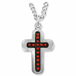 1-3/8 Inch Pewter and Red Beaded Cross Necklace