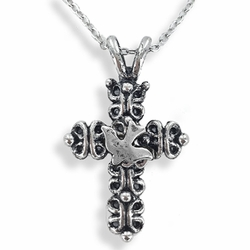 1-3/8 Inch Pewter Gothic Cross with Dove Necklace