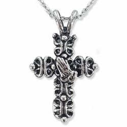 1-3/8 Inch Pewter Gothic Cross with Praying Hands Necklace