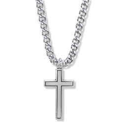 1-3/8 Inch Sterling Silver Diamond Engraved Border Cross Necklace
