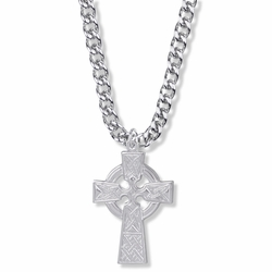 1-3/8 Inch Sterling Silver Large Celtic Cross Necklace