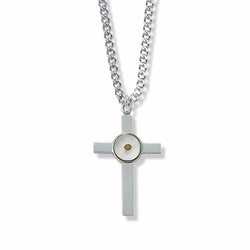 1-3/8 Inch Sterling Silver Mustard Seed Cross Necklace