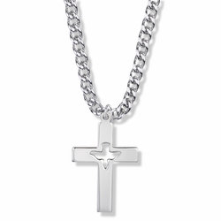1-3/8 Inch Sterling Silver Pierced and Centered Dove Cross Necklace