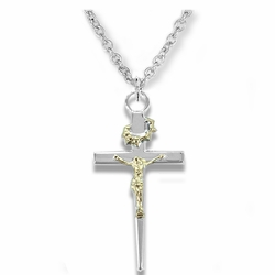 1-3/8 Inch Sterling Silver Two-Tone Crown of Thorns Crucifix Necklace