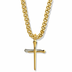 1-3/8 Inch Two-Tone 14K Gold Over Sterling Silver Nail Cross Necklace