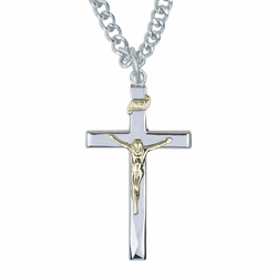 1-3/8 Inch Two-tone Sterling Silver Crucifix Necklace