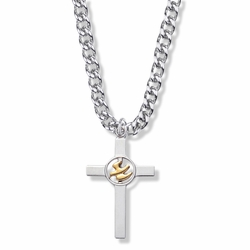 1-3/8 Inch Two-Tone Sterling Silver Dove on Cross Necklace