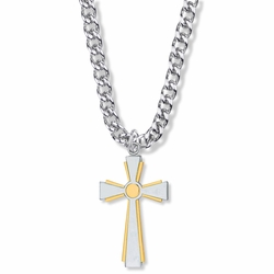 1-3/8 Inch Two-Tone Sterling Silver Flared Cross Necklace