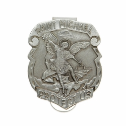 1-3/8 x 1-1/2 Inch Pewter Shield St. Michael, Patron of Police Visor Clip